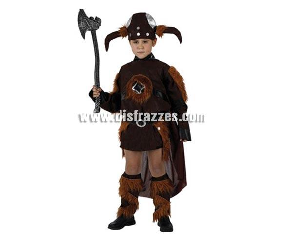 Disfraz de Vikingo para niños de 5-6 años. Incluye traje, cubrebotas y gorro. Hacha NO incluida, podrás encontrar hachas en la sección de Complementos.