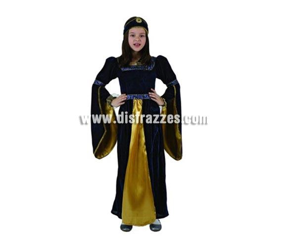 Disfraz de Princesa Medieval Azul para niñas de 7-9 años. Incluye vestido y tocado.