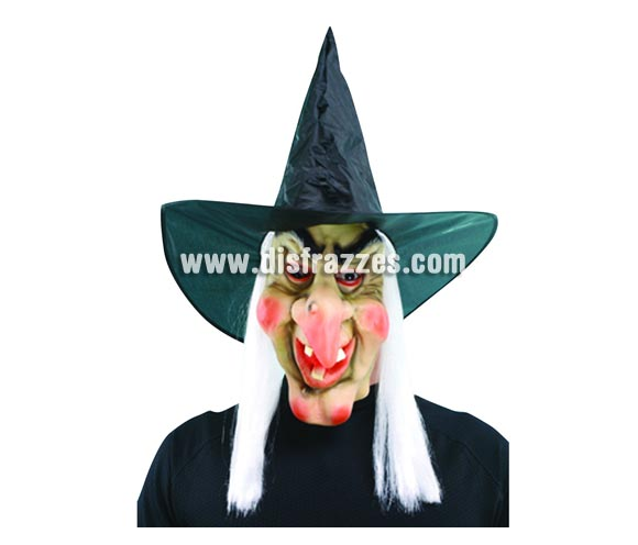 Máscara de Bruja látex con pelo para Halloween.