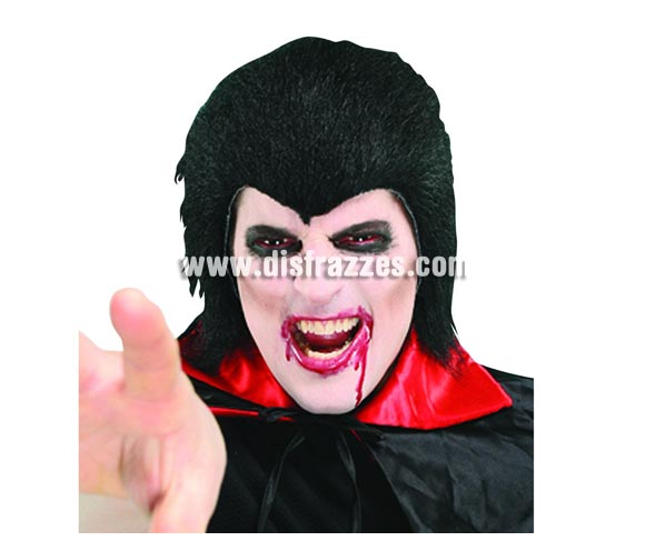 Peluca de Drácula negra para Halloween.