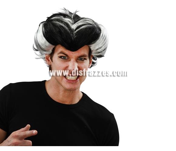 Peluca negra y blanca de Vampiro o Drácula para Halloween.