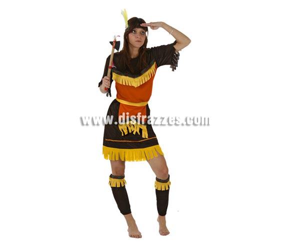 Disfraz de India Marrón para mujer. Talla Standar M-L = 38/42. Incluye tocado, vestido y cinturón. Hacha NO incluida, podrás encontrar en nuestra sección de Complementos.