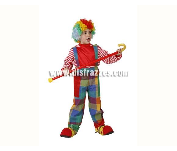 Disfraz de Payaso para niño de 5-6 años. Incluye camisa y pantalón. Peluca, bastón y zapatones NO incluidos, podrás encontrar en nuestra sección de Complementos.