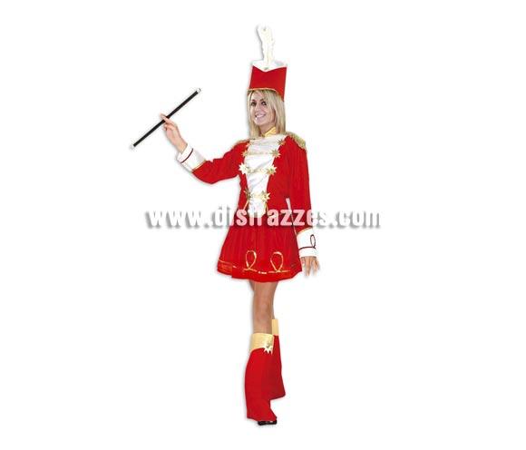 Disfraz de Majorette para chicas talla S = 34/38 y chicas de 14 a 16 años. Incluye sombrero, camisa, falda y cubrebotas. Bastón NO incluido.