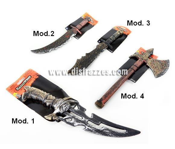 Armas variadas para Halloween. Cuatro modelos surtidos, precio por unidad, se venden por separado. Perfectas para los disfraces de Vikingos y Bárbaros.