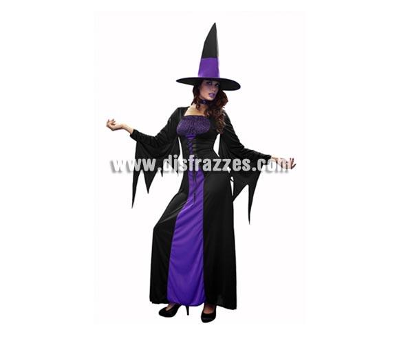Disfraz de Bruja Púrpura para mujer. Talla standar = 38/42. Incluye vestido, gargantilla y sombrero.