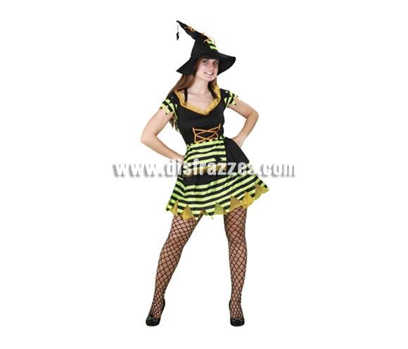Disfraz de Bruja para mujer. Talla standar = 38/42. Incluye sombrero, vestido y delantal.