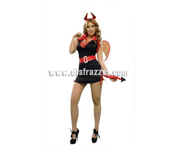 Disfraz Sexy de Diablesa para chicas. Talla Standar M-L 38/42. Incluye camisa, falda, tocado, alas y cinturón.