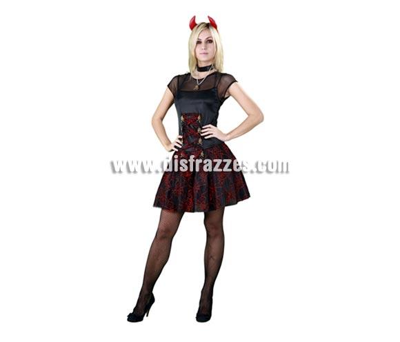 Disfraz de mujer Siniestra para Halloween. Tsalla Standar M-L 38/42. Incluye gargantilla, cuernos y vestido.