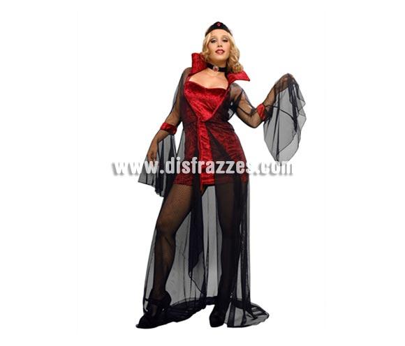 Disfraz de Vampiresa con abrigo para mujer. Talla Standar = 38/42. Incluye vestido, abrigo, diadema y gargantilla.