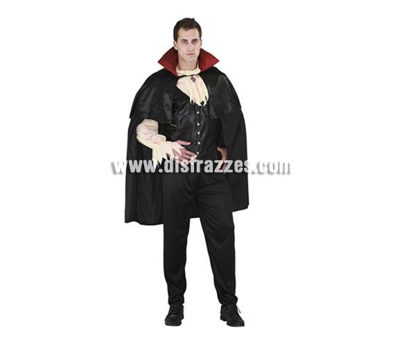Disfraz de Conde Sanguinario para hombre. Talla Standar = 52/54. Incluye chaleco con mangas y capa con cuello. Alta calidad. Disfraz de Conde Drácula o Vampiro de hombre.