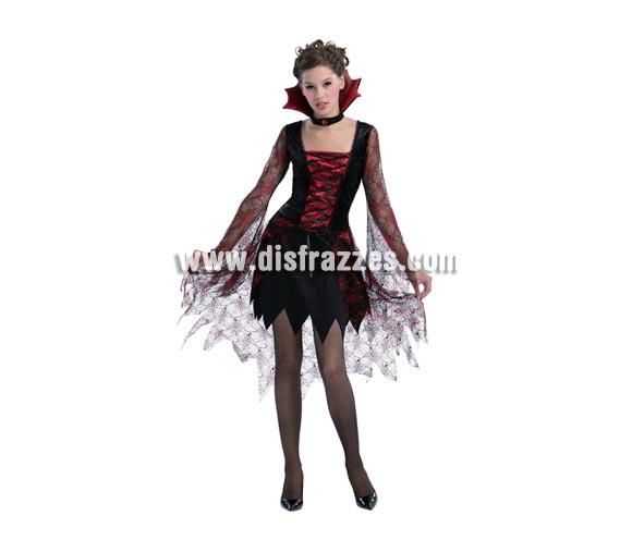 Disfraz de Vampiresa tela de araña para mujer. Talla Standar M-L 38/42. Incluye vestido y cuello alto rojo.