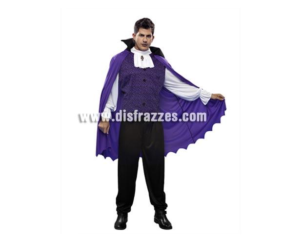 Disfraz de Vampiro capa morada para hombre. Talla Standar = 52/54. Incluye camisa y capa con cuello. Buena calidad.