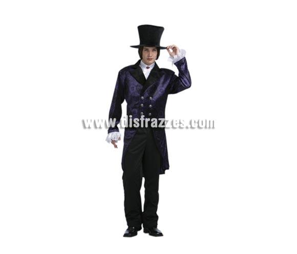 Disfraz de Noble Vampiro para hombre. Talla Standar = 52/54. Incluye abrigo, chorreras y sombrero. Alta calidad.