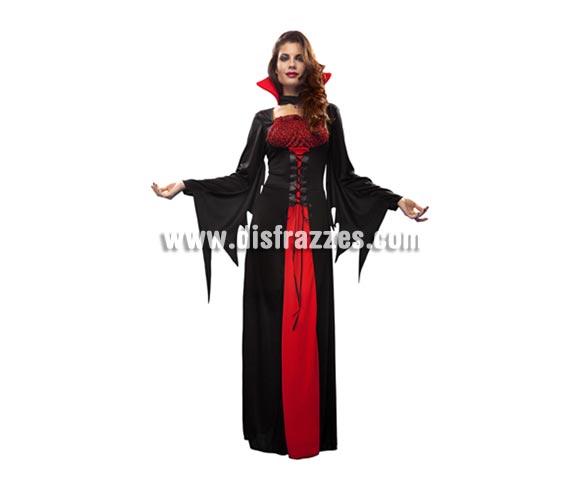 Disfraz de Vampiresa largo para mujer. Talla Standar M-L 38/42. Incluye vestido y collarín.