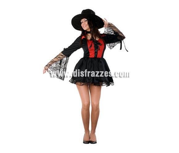 Disfraz barato de Vampiresa Sexy para mujer. Talla Standar = 38/42. Incluye sombrero, gargantilla y vestido.