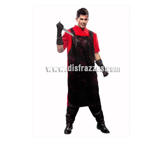 Disfraz de Carnicero Asesino para hombre. Talla Standar M-L= 52/54. Incluye camisa, delantal y guantes.