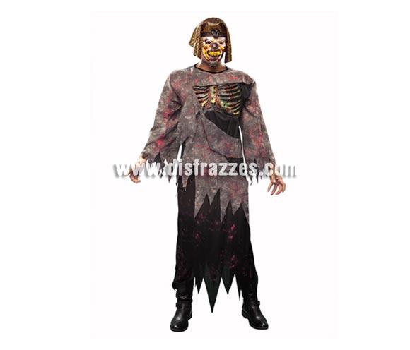 Disfraz de Faraon Siniestro para hombre. Talla Standar M-L = 52/54. Incluye túnica, máscara con tocado y pechera. Gran disfraz para la noche de Halloween que imita a la película de La Momia.