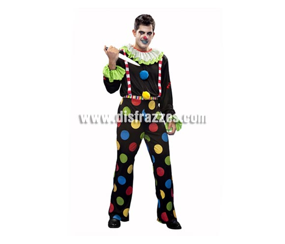 Disfraz de Payaso Diabólico para hombre. Talla Standar M-L 52/54. Incluye camisa y pantalón. Cuchillo NO incluido, podrás verlo en la sección de Complementos.