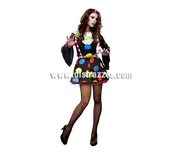 Disfraz de Payasa Diabólica para mujer. Talla Standar M-L = 38/42. Incluye camisa y falda.