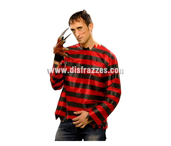 Camisa Diabólica para hombre. Talla Standar M-L = 52/54. Con ésta camisa, podrás disfrazarte de Freddy y serás una auténtica pesadilla en la noche de Halloween.