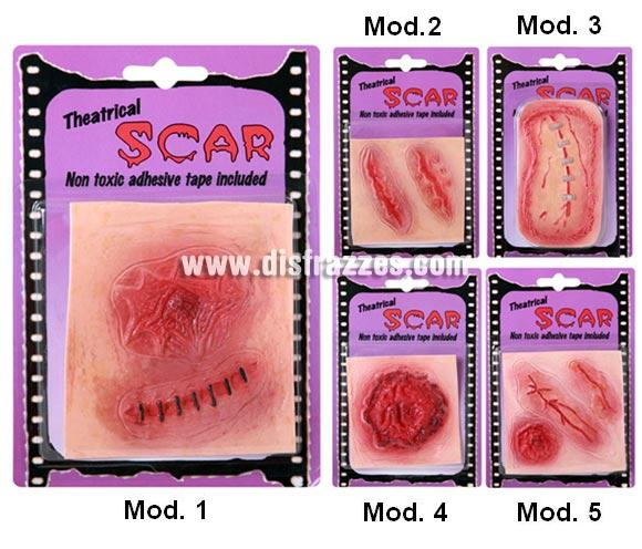 Cicatrices de goma para Halloween. Cinco modelos surtidos, precio por unidad, se venden por separado.