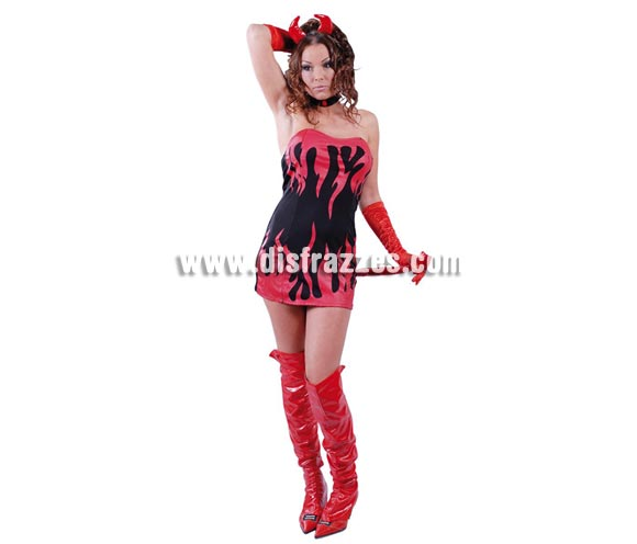 Disfraz barato y sexy Super Devil para mujer. Talla única 38/40. Incluye diadema, vestido, cola y guantes. Disfraz de Demonia para chicas.