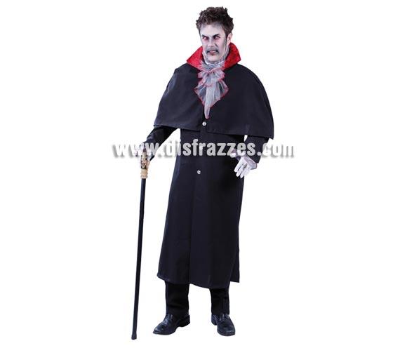 Disfraz de Vampiro Gorson para hombre. Talla Standar = 52/54. Incluye pechera, chaqueta-capa y puños.