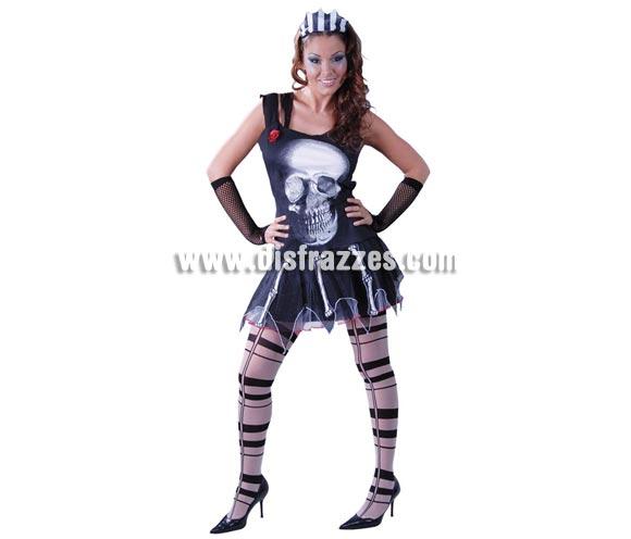 Disfraz de Skull Girl para chicas. Talla única hasta la 42/44. Incluye diadema, top y falda.