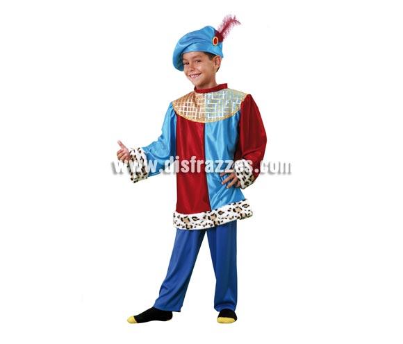Disfraz de Paje para niño de 7 a 9 años. Incluye sombrero, blusón y pantalón. También sirve como disfraz de Príncipe para niños.