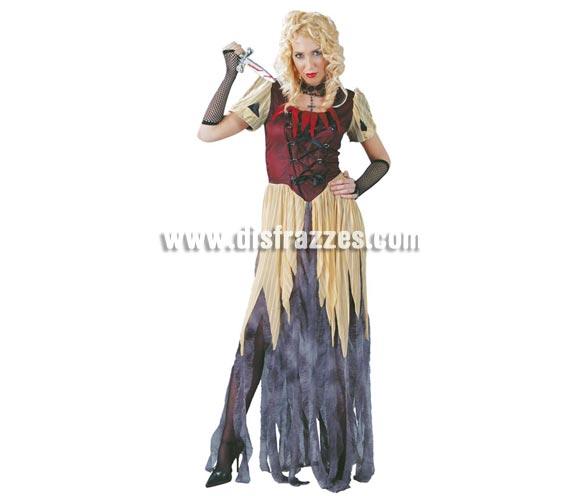 Disfraz de Blancanieves Maldita para mujer. Talla única hasta la 42/44. Incluye vestido y mangas. Disfraz de Princesa de la Noche para chicas.