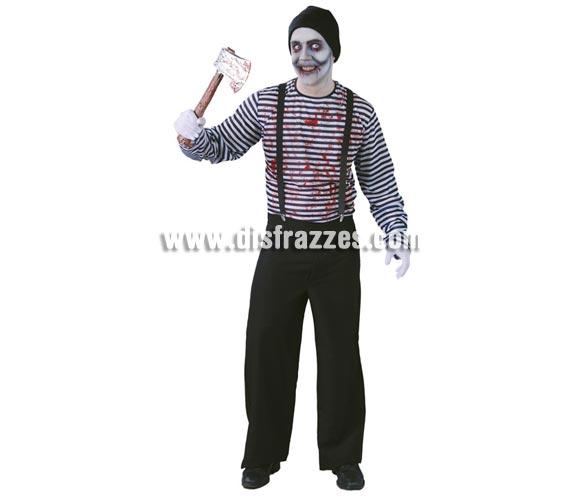 Disfraz de Mimo Asesino para hombre. Talla Standar 52/54. Incluye camiseta, tirantes y pantalón. Resto del disfraz NO incluido, el Hacha por ejemplo la podrás ver en Complementos.