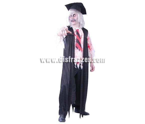 Disfraz de Profesor Zombie para hombre. Talla Standar 52/54. Incluye birrete, chaqueta, camisa y corbata.
