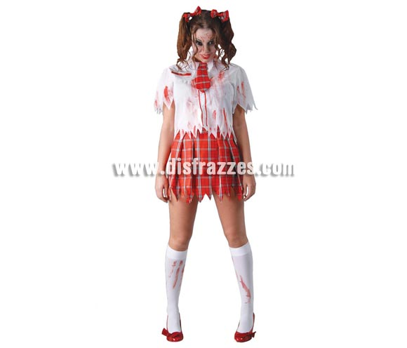 Disfraz de Colegiala Zombie para mujer. Talla única 38/40. Incluye lazos, camisa, corbata y falda.