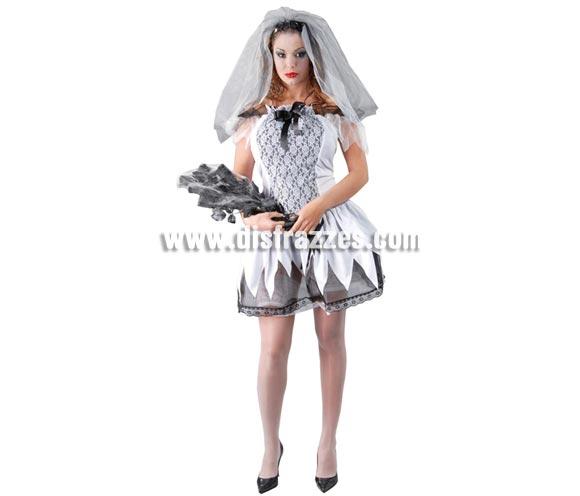 Disfraz de Novia Cadáver vestido corto para mujer. Talla única hasta la 42/44. Incluye velo y vestido.