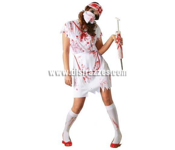 Disfraz de Enfermera Zombie para mujer. Talla única válida hasta la 42/44. Incluye cofia, mascarilla, vestido y delantal.