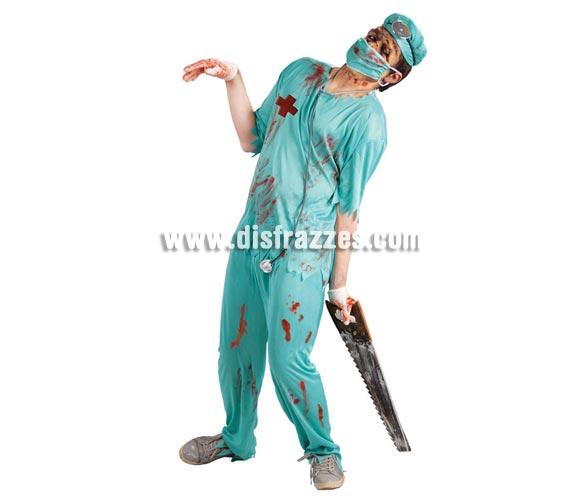 Disfraz de Cirujano Zombie para hombre. Talla Standar 52/54. Incluye gorro, mascarilla, camisa y pantalón. Serrucho NO incluido, podrás verlo en Complementos.