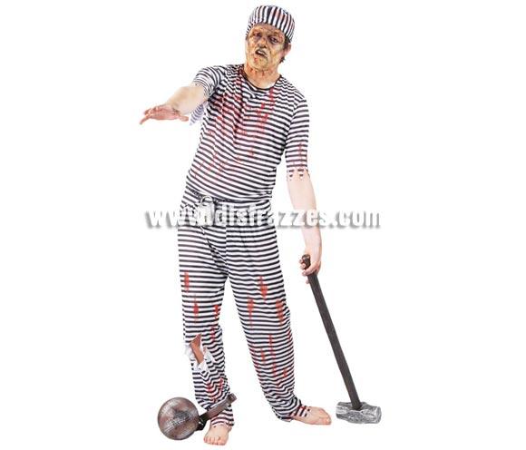 Disfraz de Presidiario Zombie para hombre. Talla Standar 52/54. Incluye gorro, camisa y pantalón. Accesorios NO incluidos, podrás verlos en Complementos.