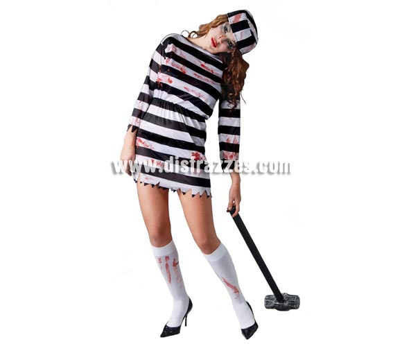 Disfraz barato de Presidiaria Zombie para mujer. Talla única válida hasta la 42/44. Incluye gorro y vestido. Maza NO incluida, podrás verla en Complementos.