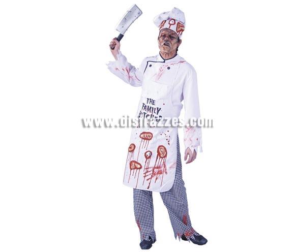 Set de Cocinero Zombie para Halloween. Talla única. Incluye gorro y delantal, resto NO incluido.