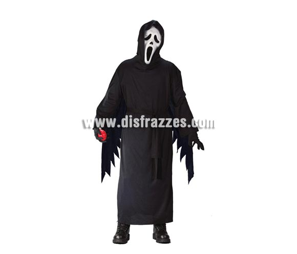 Disfraz barato de Scream para niños de 10 a 12 años. Incluye túnica con capucha. Careta NO incluida, podrás verla en la sección de Máscaras y Caretas.