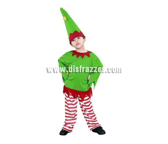 Disfraz de Gnomo para niño de 3 a 4 años. Incluye gorro, pantalón y camisa. Disfraz de Duende o Enanito perfecto también para Navidad.