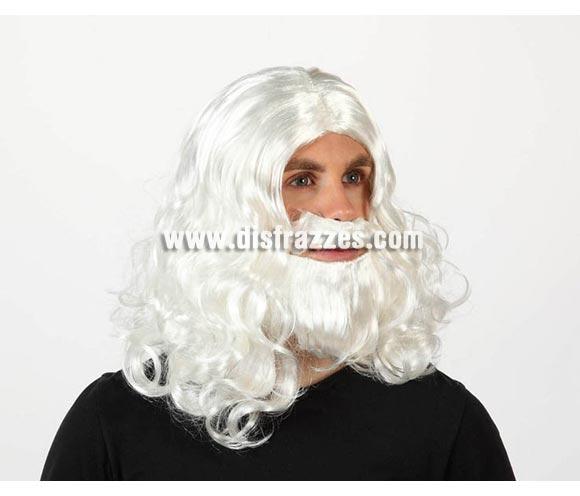 Peluca y barba blanca de Rey Mago Melchor. Talla Universal adulto. El Complemento ideal para tu disfraz de Rey Mago y también para Papa Noel.