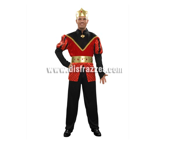 Disfraz de Principe Medieval para hombre. Talla Standar M-L = 52/54. Incluye camisa, pantalón, corona y cinturón.