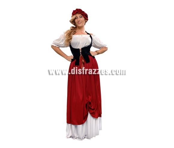 Disfraz de Tabernera para mujer. Talla standar M-L = 38/42. Incluye falda, camisa, corpiño y sombrero. Disfraz de Posadera o Mesonera ideal para Ferias y Fiestas Medievales.