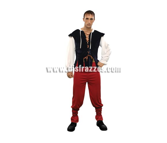 Disfraz de Tabernero para hombre. Talla Standar M-L = 52/54. Incluye chaqueta, pantalón y dos cintas para los bajos del pantalón. Disfraz de Posadero o Mesonero ideal para Ferias y Fiestas Medievales.