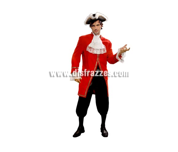 Disfraz de Mozart Rojo para hombre. Talla standar M-L = 52/54. Incluye casaca, pantalón, fajín y pantalón. Sombrero NO incluido, podrás encontrar en nuestra sección de Complementos. También sirve como disfraz de Hombre de Época
