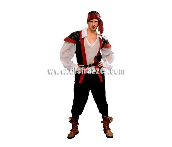 Disfraz de Pirata para hombre. Talla standar M-L = 52/54. Incluye camisa con chaleco, pantalones, cubrebotas, cinturón y pañuelo.