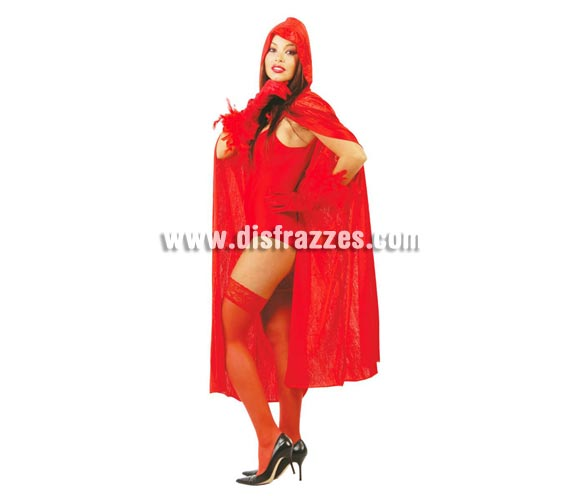 Capa Roja con capucha para adultos de 130 cm de largo. Perfecta como capa de Caperucita Roja.
