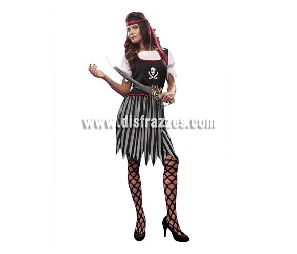 Disfraz de Chica Pirata para mujer. Talla standar M-L = 38/42. Incluye falda, camisa, cinta para la cabeza y cinturón.